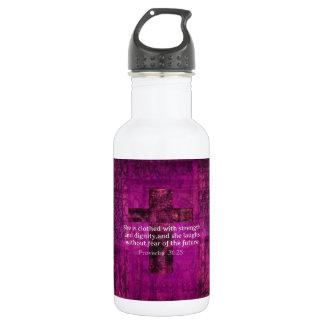 Proverbs 31:25 Inspirational Bible Verse  Women 18oz Water Bottle