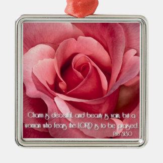 Proverbs 31:30 metal ornament