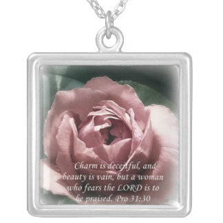 Proverbs 31:30 silver plated necklace