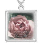 Proverbs 31:30 square pendant necklace