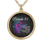 Proverbs 31 Bible Christian Women's Round Pendant Necklace