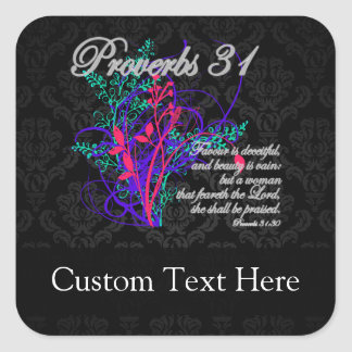 Proverbs 31 Bible Christian Women's Square Sticker