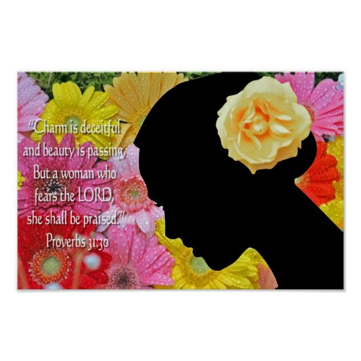 Proverbs 31 Christian Poster Flowers Scripture