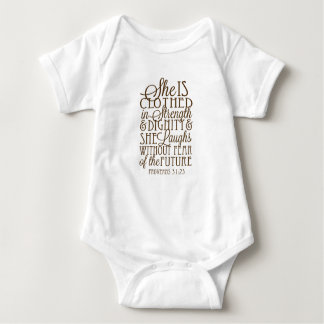 Proverbs 31 - Clothed in Strength & Dignity Brown Baby Bodysuit