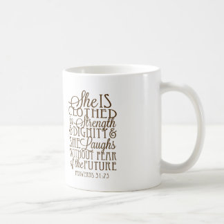 Proverbs 31 - Clothed in Strength & Dignity Brown Classic White Coffee Mug