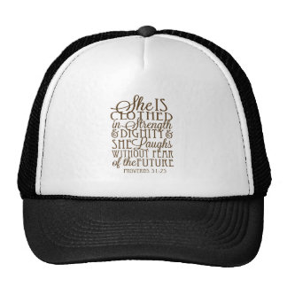 Proverbs 31 - Clothed in Strength & Dignity Brown Trucker Hat