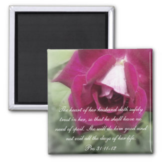 Proverbs 31 Collection ~ Pro 31:11-12 2 Inch Square Magnet