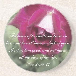 Proverbs 31 Collection ~ Pro 31:11-12 Sandstone Coaster