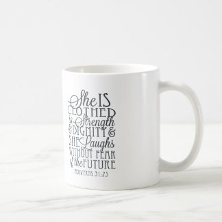 Proverbs 31 Gifts - Clothed in Strength & Dignity Classic White Coffee Mug