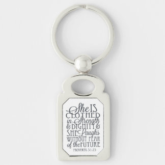 Proverbs 31 Gifts - Clothed in Strength & Dignity Silver-Colored Rectangular Metal Keychain