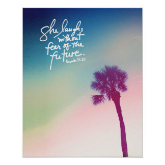 Proverbs 31 Palm Sunset Poster