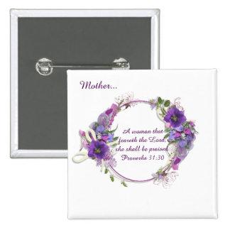 Proverbs 31 Woman Christian Purple Flower Wreath 2 Inch Square Button