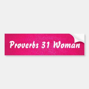Proverbs 31 Woman pink background Bumper Sticker