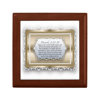 Proverbs 3:13 Wisdom Gold Christian Bible Quote Gift Box