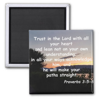 Proverbs 3:5-6 2 inch square magnet