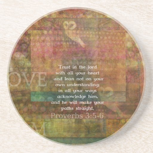 Proverbs 3:5-6 Bible Quote about Trust Coaster