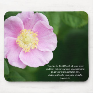 Proverbs 3:5-6 Christian Bible Verse Pink Flower Mouse Pad