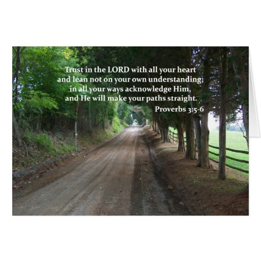 Proverbs 3:5-6 Christian Bible Verse Poster Greeting Card