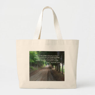 Proverbs 3:5-6 Christian Bible Verse Poster Large Tote Bag