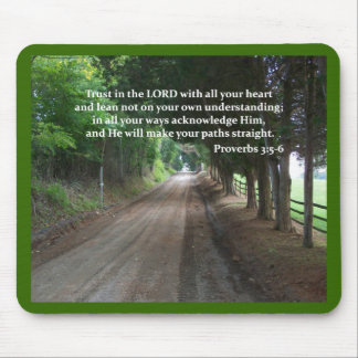 Proverbs 3:5-6 Christian Bible Verse Poster Mouse Pad