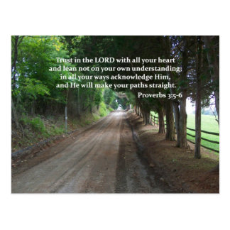 Proverbs 3:5-6 Christian Bible Verse Poster Postcard