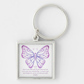 Proverbs 3:5,6 Scripture Inspiration Butterfly Keychain