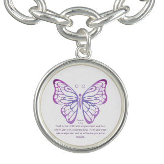 Proverbs 3:5,6 Scripture Inspiration Butterfly Bracelet