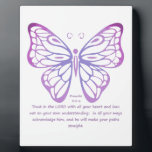 """Proverbs 3:5,6 Scripture Inspiration Butterfly Plaque<br><div class=""""desc"""">Proverbs 3:5, 6 Scripture Inspiration Butterfly Pink Purple Blue</div>"""