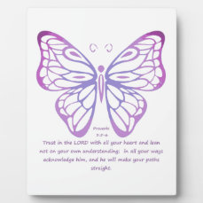 Proverbs 3:5,6 Scripture Inspiration Butterfly Plaque