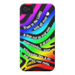 Proverbs 3:5-6 Trust in the Lord - Rainbow Zebra Case-Mate iPhone 4 Cases