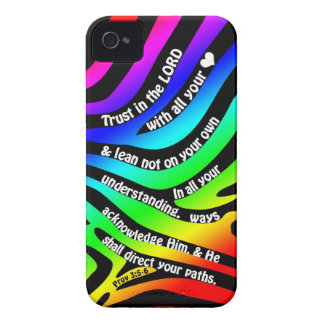 Proverbs 3:5-6 Trust in the Lord - Rainbow Zebra iPhone 4 Case
