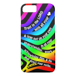 Proverbs 3:5-6 Trust in the Lord - Rainbow Zebra iPhone 7 Case