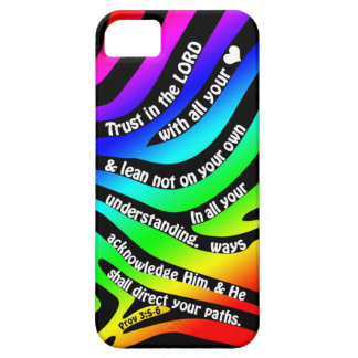 Proverbs 3:5-6 Trust in the Lord - Rainbow Zebra iPhone SE/5/5s Case