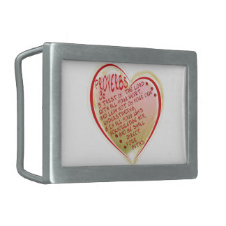 PROVERBS 3:5-6 TRUST IN THE LORD W ALL YOUR HEART RECTANGULAR BELT BUCKLE