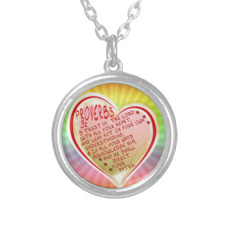 PROVERBS 3:5-6 TRUST IN THE LORD W ALL YOUR HEART SILVER PLATED NECKLACE