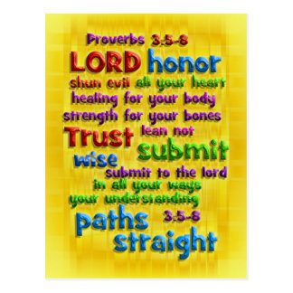 Proverbs 3:5-8 Yellow Foil Post Card
