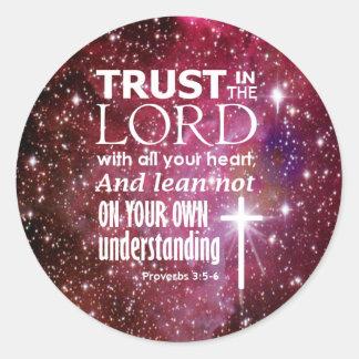 Proverbs 3:5 classic round sticker