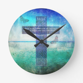 Proverbs 3:5 Trust in the Lord with all your heart Round Wall Clocks