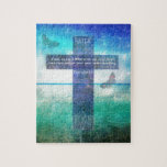 "Proverbs 3:5 Trust in the Lord with all your heart Jigsaw Puzzle<br><div class=""desc"">Inspirational Bible verse with Christian themed painting.of a beautiful blue Cross against a scenic ocean background with Scripture text. Thank you for taking an interest in my artwork. All designs are unique. I try to keep most things fully customizable so you can truly make it your own. Have a Blessed...</div>"