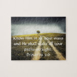 """Proverbs 3:6 Bible Verse Photo Scene Jigsaw Puzzle<br><div class=""""desc"""">Inspirational scenic puzzle with Bible verse Proverbs 3:6 &quot;Know Him in all your ways and He shall make all your paths straight.&quot;</div>"""