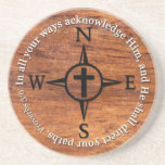 Proverbs 3:6 Direct Your Paths Bible Verse Compass Beverage Coasters