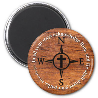 Proverbs 3:6 Direct Your Paths Bible Verse Compass 2 Inch Round Magnet