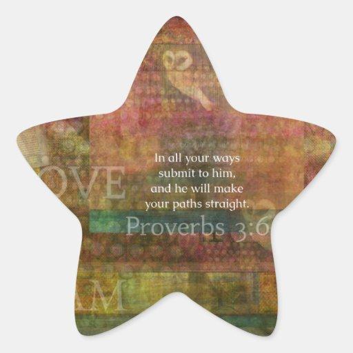 Proverbs 3:6: Inspirational Bible Verse Star Stickers