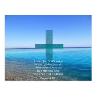 Proverbs 3:6 Listen for God's voice BIBLE VERSE Postcard