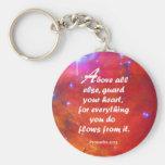 Proverbs 4:23 basic round button keychain