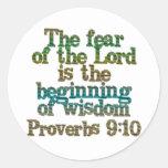 Proverbs 9:10 round stickers