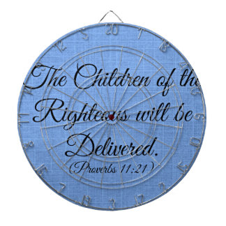 Proverbs Bible verse The children of the righteous Dartboard With Darts