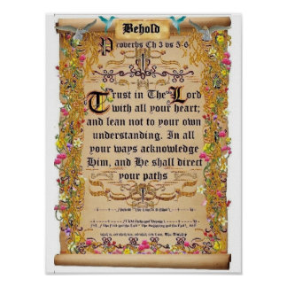 Proverbs Chapter 3 verses 5-6 Trust in the Lord Posters