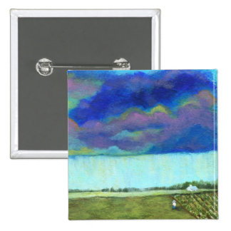 Providence Abstract Folk Art Landscape Painting Button
