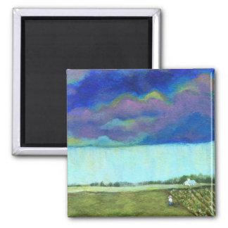 Providence Abstract Folk Art Landscape Painting Fridge Magnet